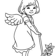 Desenho de um lindo anjo natalino para colorir