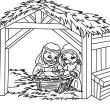 Desenho da Maria, do José e do Jesus no presépio para colorir