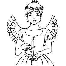 Desenho de uma linda anja para colorir