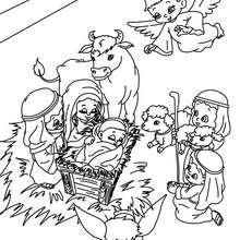 Desenho da familia abençoada com os animais para colorir
