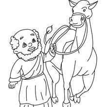 Desenho do Baltasar no seu camelo para colorir