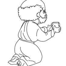 Desenho do Baltasar dando um presente de Natal para o Jesus para colorir