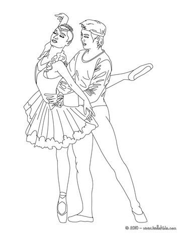 Desenho para colorir de um casal de dançarinos de balé clássico