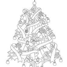 Desenho para colorir de uma linda Árvore de Natal