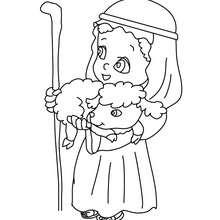 Desenho de um pastor com um cordeiro em seus braços para colorir