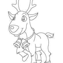 Desenho do Rodolfo do nariz vermelho com sinos para colorir