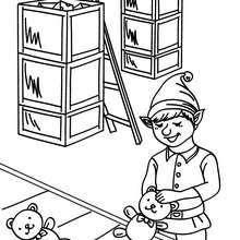 Desenho de Duendes fazendo brinquedos na fábrica do Papai Noel para colorir