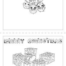 Desenho de um cartão de feliz Natal para colorir