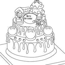 Desenho de um delicioso bolo de Natal para colorir
