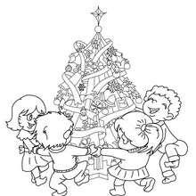 Desenho para colorir de uma linda Árvore de Natal com crianças em volta