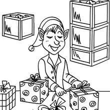 Desenho de Duendes embrulhando presentes na fábrica do Papai Noel para colorir