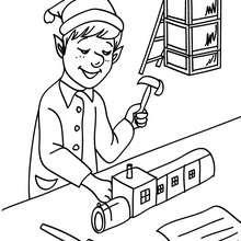 Desenho de Duendes fabricando tens de madeira na fábrica do Papai Noel para colorir