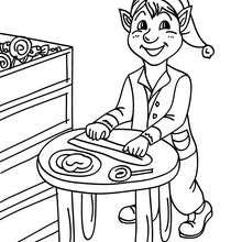 Desenho de Duendes fazendo docinhos e pirulitos para o Natal para colorir