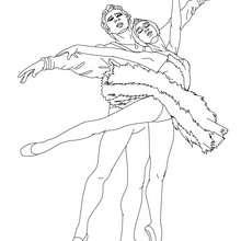Desenho para colorir de um casal dançando balé clássico