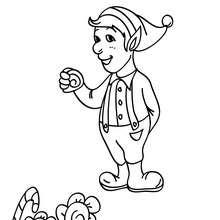 Desenho de um Duende comendo um pirulito para colorir