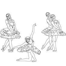 Desenho de uma bailarina reverenciando para colorir