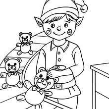 Desenho de um Duende costurando um ursinho de pelúcia na fábrica do Papai Noel para colorir