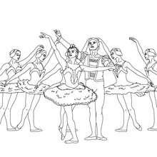 Desenho dos dançarinos na posição final para colorir