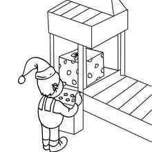 Desenho de um Duende concertando uma máquina na fábrica do Papai Noel para colorir