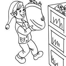 Desenho de um Duende guardando os presentes de Natalpara colorir