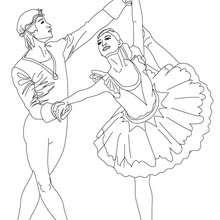 Desenho de um casal de dançarinos de balé fazendo um arabesque para colorir
