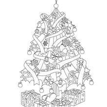 Desenho para colorir de uma Árvore de Natal com presentes