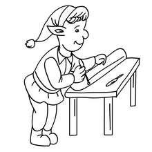 Desenho de Duendes concertando o trenó do Papai Noel para colorir