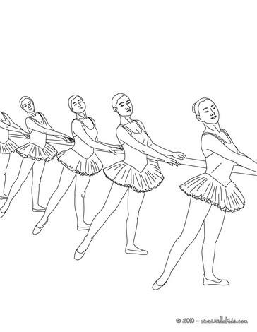 Desenho de dançarinas de balé treinando na barra para colorir