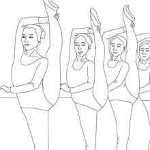 Desenho da aula de balé com as dançarinas na barra para colorir