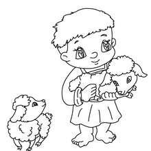 Desenho de um pastor com cordeiros do seu lado para colorir