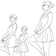 Desenho de bailarinas fazendo um retiré com sapatilhas na aula de balé para colorir