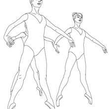 Desenho de bailarinas fazendo um echappé com sapatilhas na aula de balé para colorir