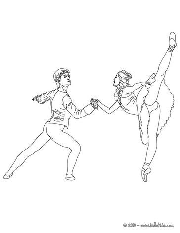 Desenho de dançarinos de balé dançando para colorir