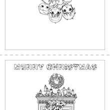 Um cartão de Natal com uma lareira e meias para colorir e imprimir