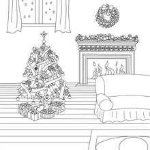Desenho de uma bela tarde de Natal para colorir