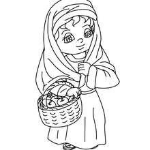 Desenho de uma camponesa com uma cesta de maçãs para colorir