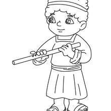 Desenho de um camponês com uma flauta para colorir