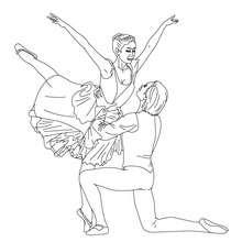 Desenho de um bailarino levantando uma bailarina para colorir