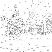 Desenho para colorir de um Natal com neve