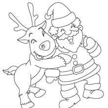 Desenho da Corredora com o Papai Noel para colorir