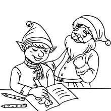 Desenho de um Duende desenhando um cartão de natal para colorir