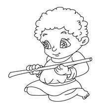 Desenho de um pequeno camponês com uma flauta para colorir