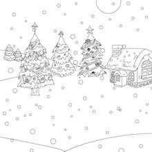 Desenho para colorir de uma casa sob a neve no Natal