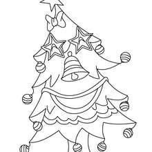 Desenho para colorir de uma Árvore de Natal com enfeites engraçados