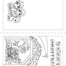 Um cartão de Natal com estrelas e um presépio para colorir e imprimir