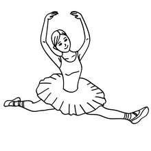 Desenho de uma bailarina fazendo um salto sissione para colorir