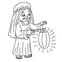 Desenho de um camponês com uma lanterna para colorir