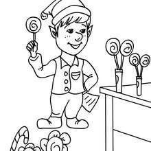 Desenho dos Duendes trabalhando no laboratório de pirulitos para colorir