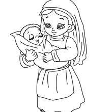 Desenho de uma camponesa com seus filhos nos braços para colorir
