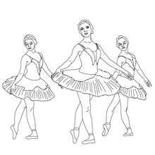 Desenho de bailarinas dançando para colorir